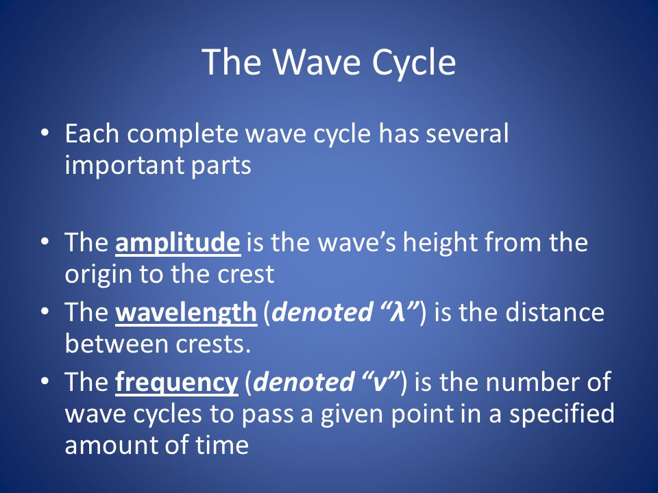 The Wave Cycle Each complete wave cycle has several important parts
