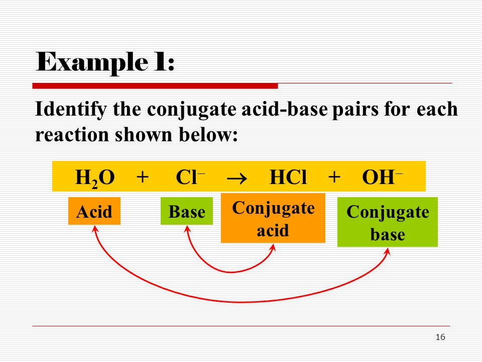 Example 1: Identify the conjugate acid-base pairs for each reaction shown below: H2O + Cl  HCl + OH