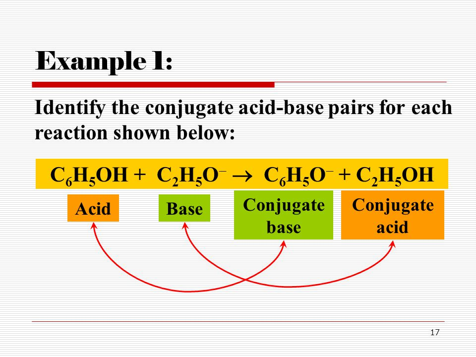 Example 1: Identify the conjugate acid-base pairs for each reaction shown below: C6H5OH + C2H5O  C6H5O + C2H5OH.