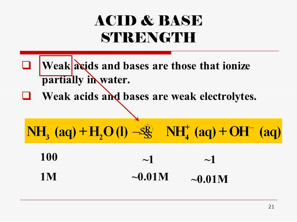 ACID & BASE STRENGTH Weak acids and bases are those that ionize partially in water. Weak acids and bases are weak electrolytes.