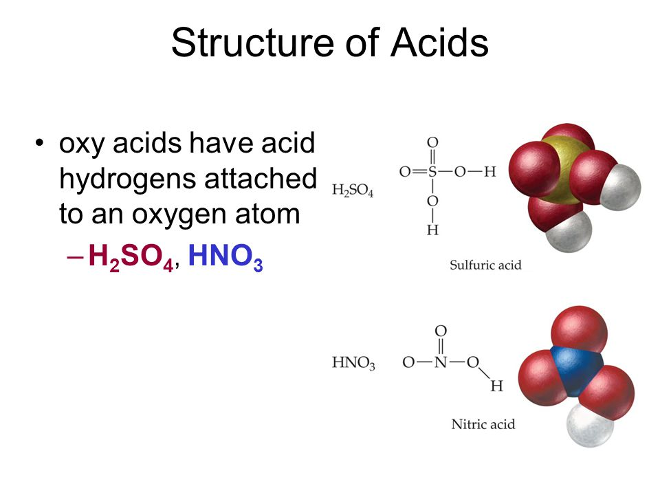 Structure of Acids oxy acids have acid hydrogens attached to an oxygen atom H2SO4, HNO3