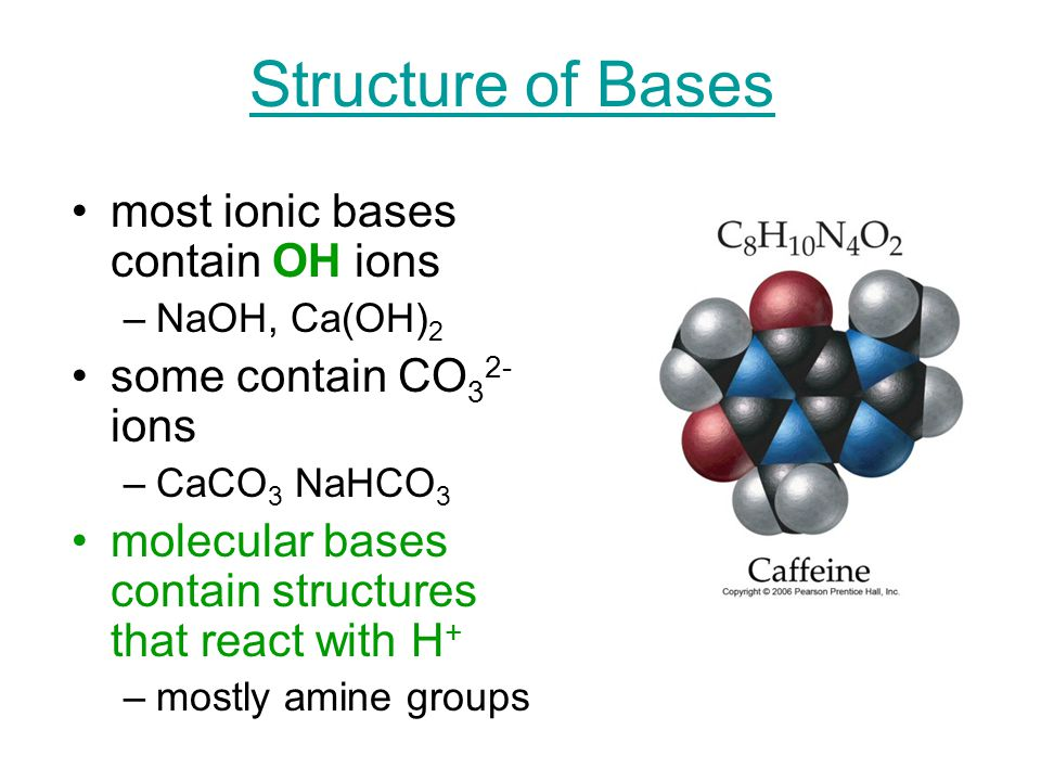 Structure of Bases most ionic bases contain OH ions