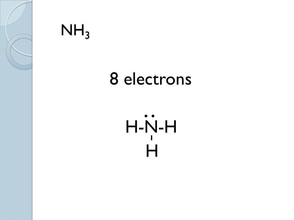 NH3 8 electrons H-N-H H