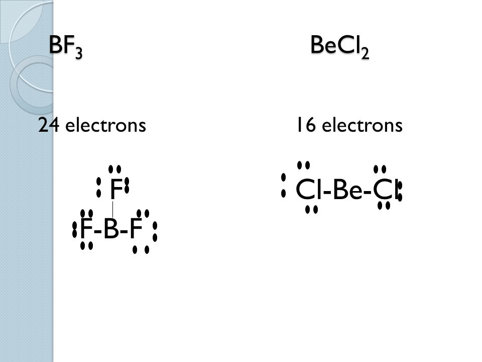 Ex. BF3 BeCl2 24 electrons 16 electrons.