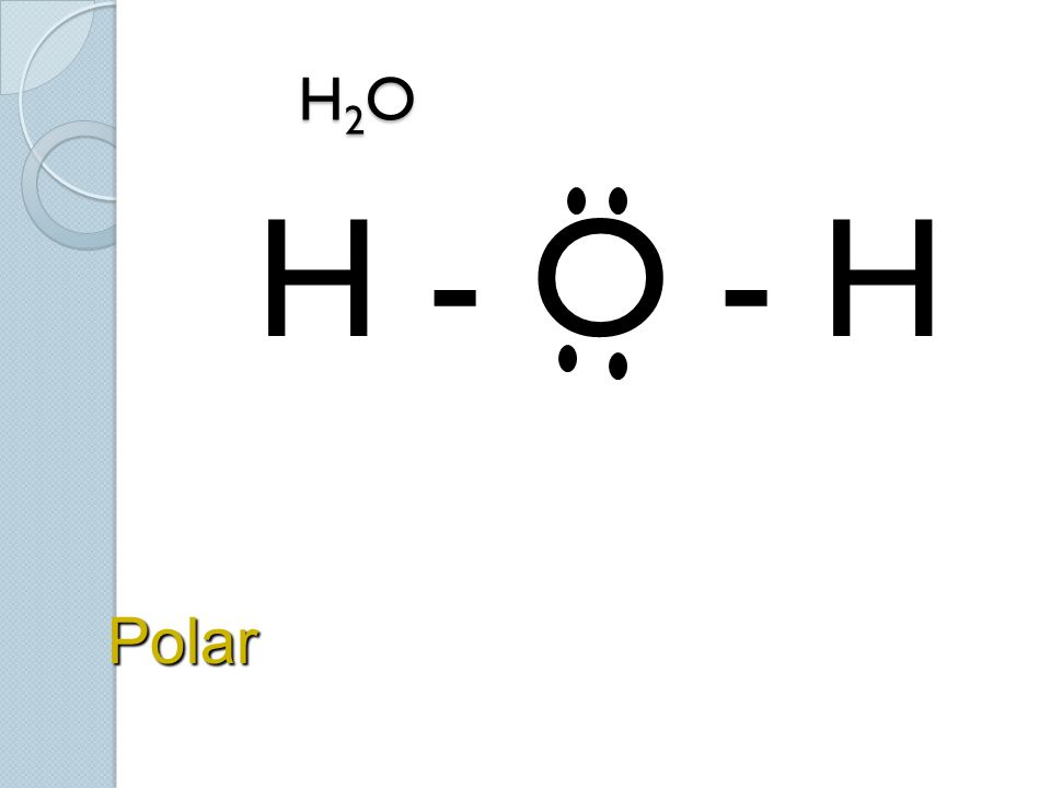 H2O H - O - H Polar