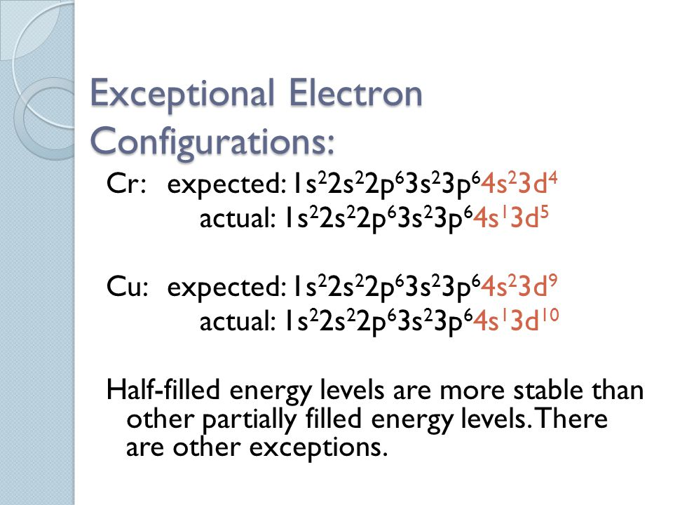 Exceptional Electron Configurations: