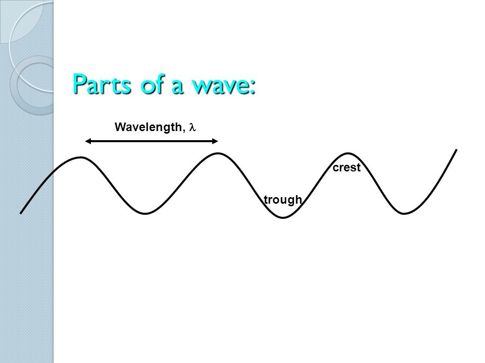 Parts of a wave: Wavelength, l crest trough