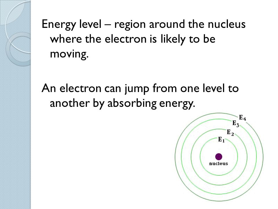 Energy level – region around the nucleus where the electron is likely to be moving.