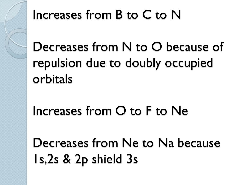 Increases from B to C to N Decreases from N to O because of repulsion due to doubly occupied orbitals Increases from O to F to Ne Decreases from Ne to Na because 1s,2s & 2p shield 3s