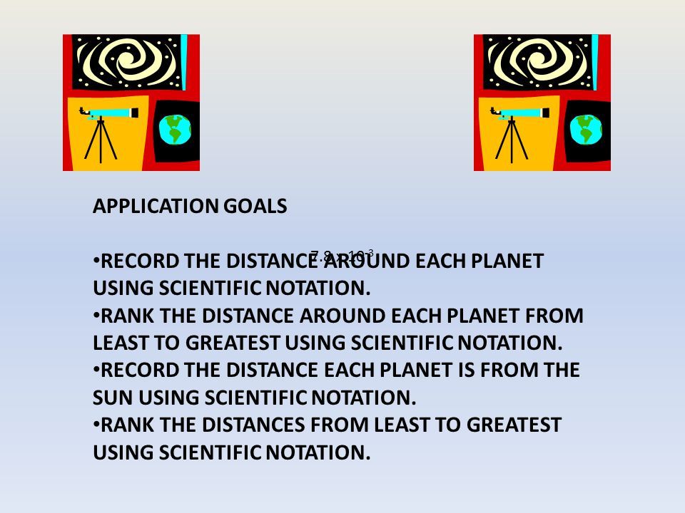 RECORD THE DISTANCE AROUND EACH PLANET USING SCIENTIFIC NOTATION.