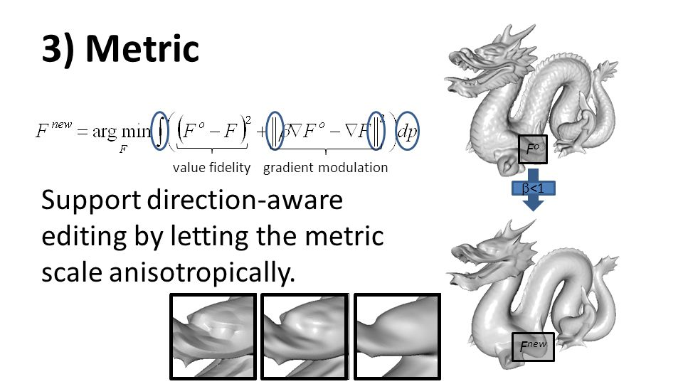 3) Metric Support direction-aware editing by letting the metric scale anisotropically. Fo. value fidelity.