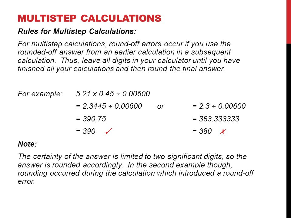 Multistep calculations