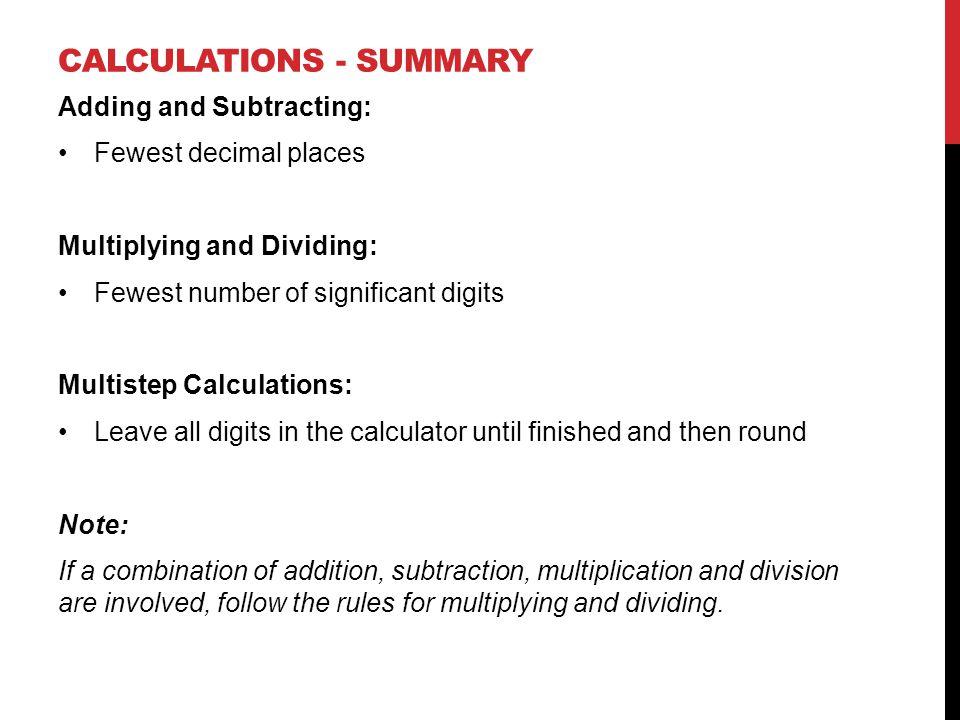 Calculations - Summary