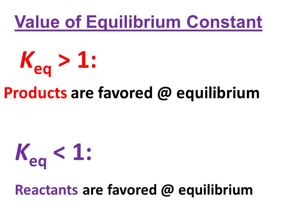 Value of Equilibrium Constant