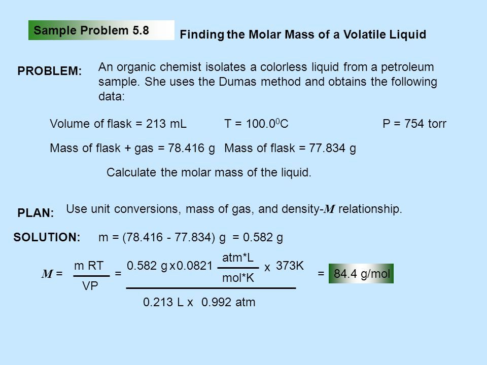 Sample Problem 5.8 Finding the Molar Mass of a Volatile Liquid. PROBLEM: