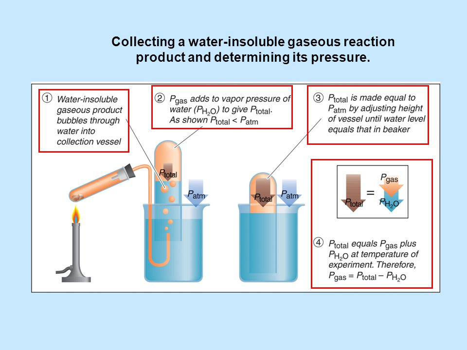 Collecting a water-insoluble gaseous reaction product and determining its pressure.