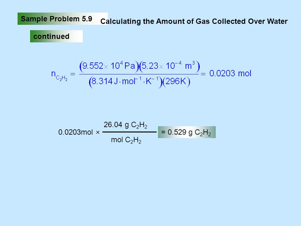 Sample Problem 5.9 Calculating the Amount of Gas Collected Over Water. continued. 0.0203mol. 26.04 g C2H2.