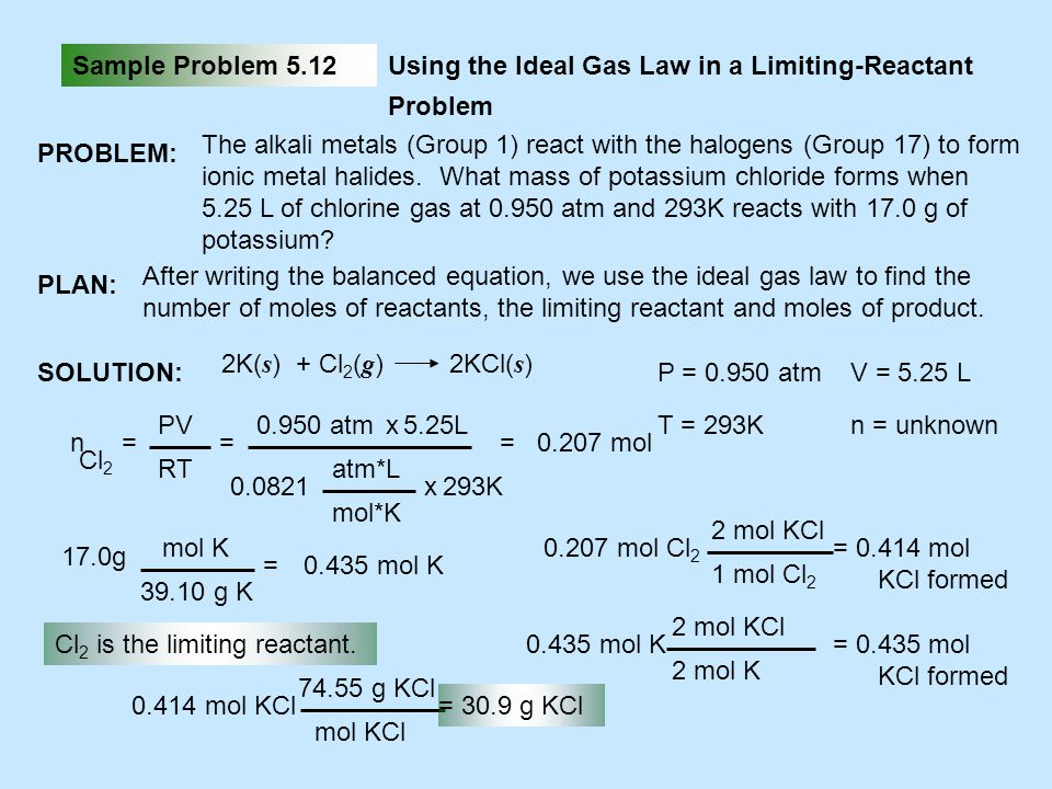 Sample Problem 5.12 Using the Ideal Gas Law in a Limiting-Reactant Problem. PROBLEM: