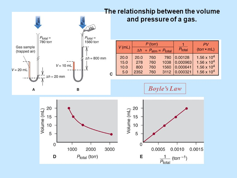 The relationship between the volume and pressure of a gas.
