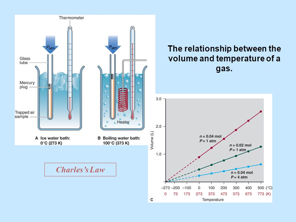 The relationship between the volume and temperature of a gas.