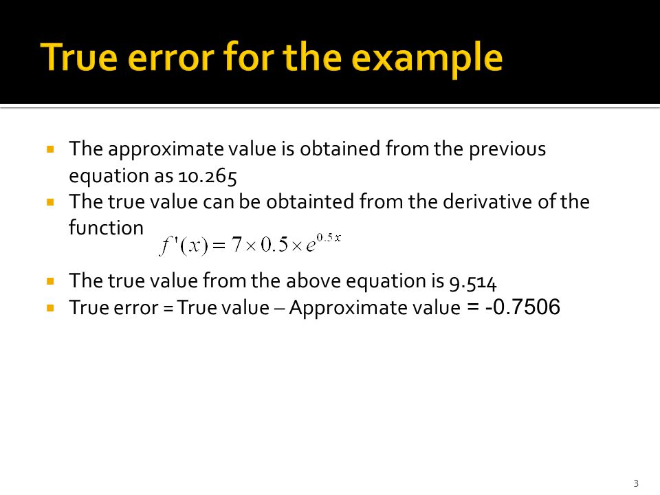 True error for the example