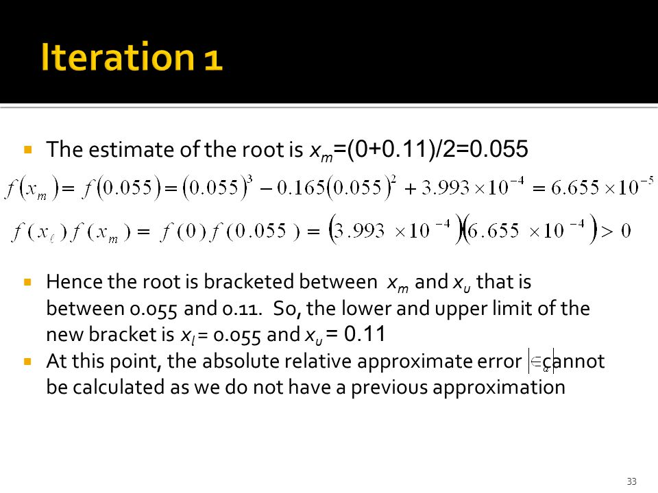 Iteration 1 The estimate of the root is xm=(0+0.11)/2=0.055
