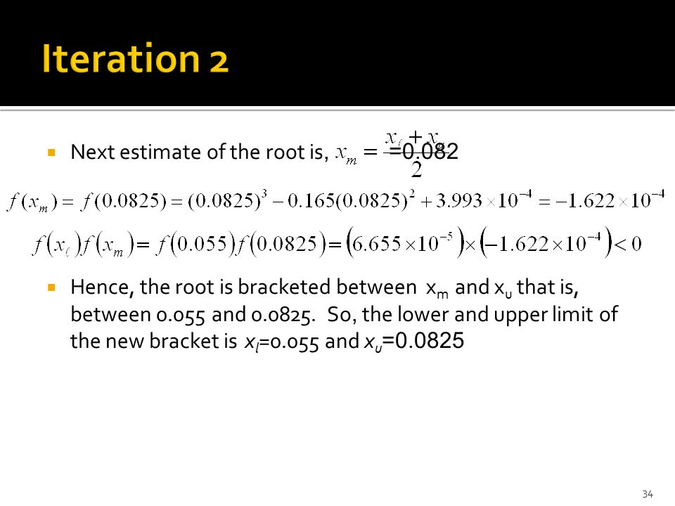 Iteration 2 Next estimate of the root is, =0.082