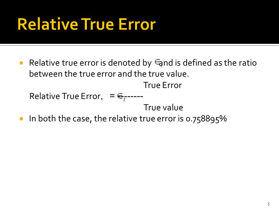 Relative True Error
