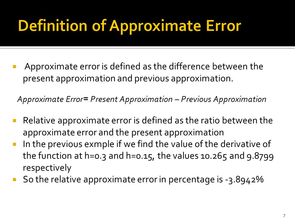 Definition of Approximate Error