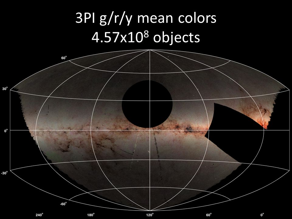 3PI g/r/y mean colors 4.57x108 objects