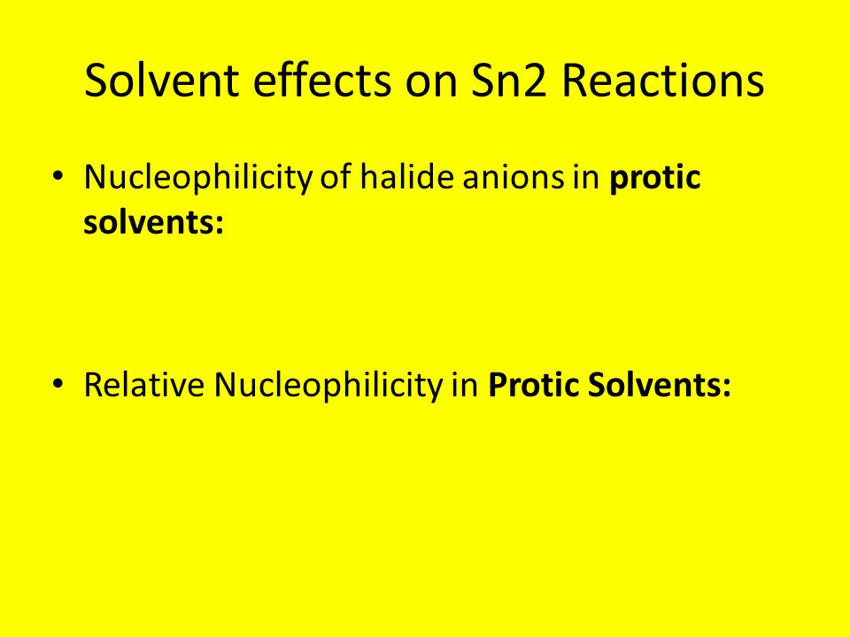 Solvent effects on Sn2 Reactions