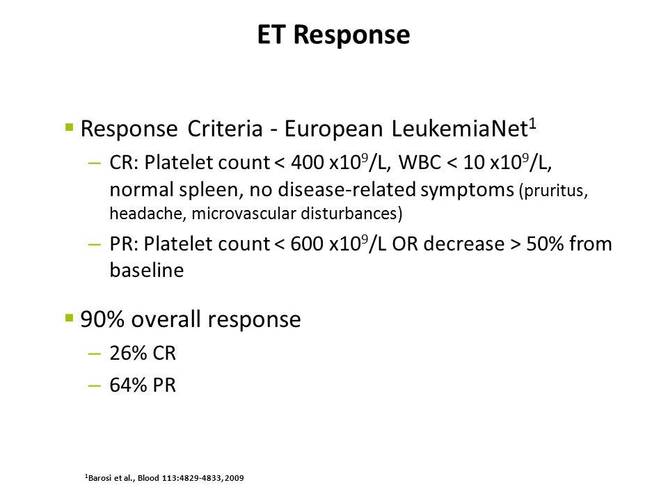 ET Response Response Criteria - European LeukemiaNet1