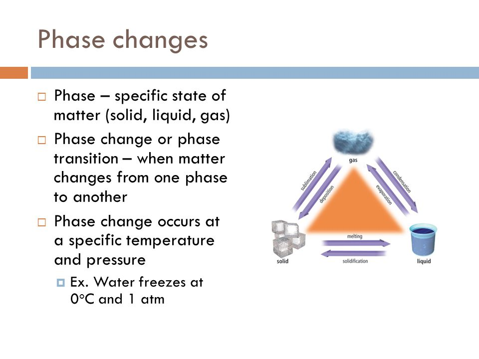 Phase changes Phase – specific state of matter (solid, liquid, gas)
