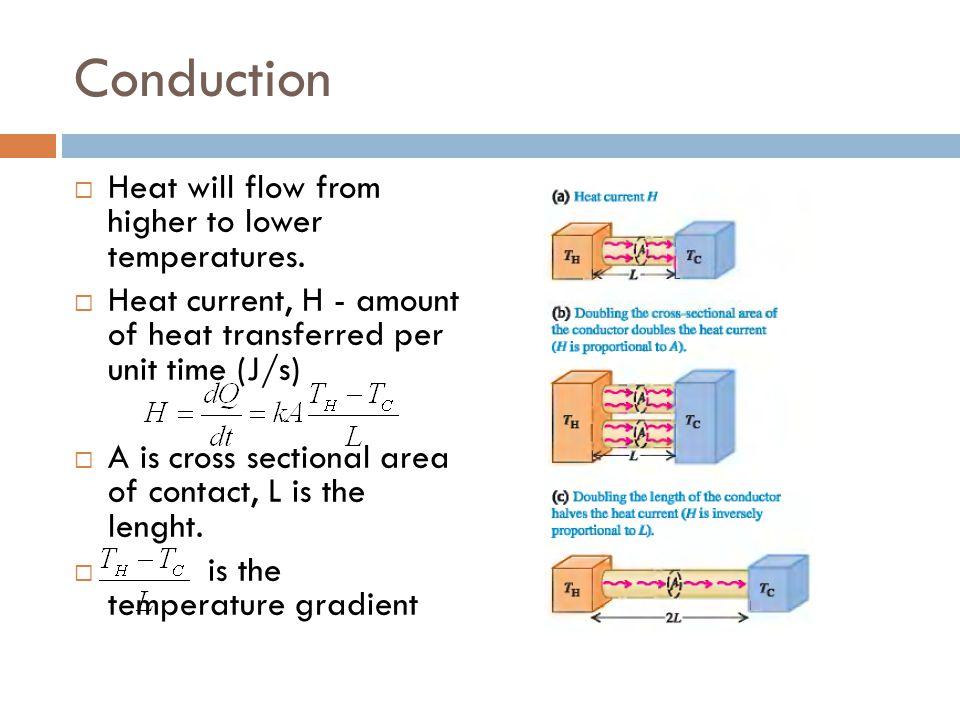 Conduction Heat will flow from higher to lower temperatures.