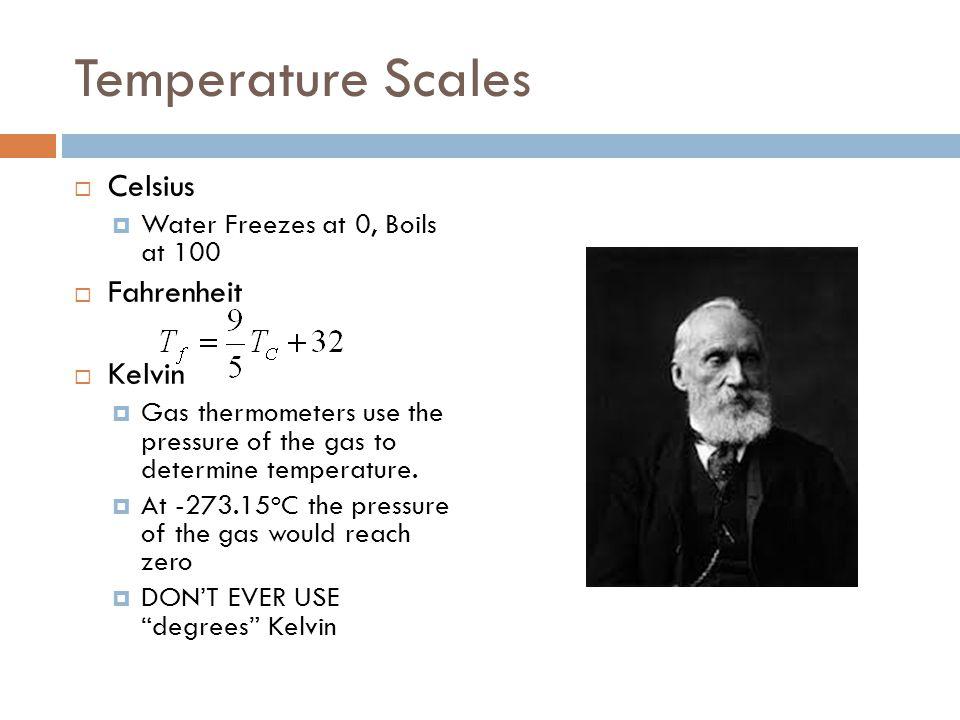 Temperature Scales Celsius Fahrenheit Kelvin