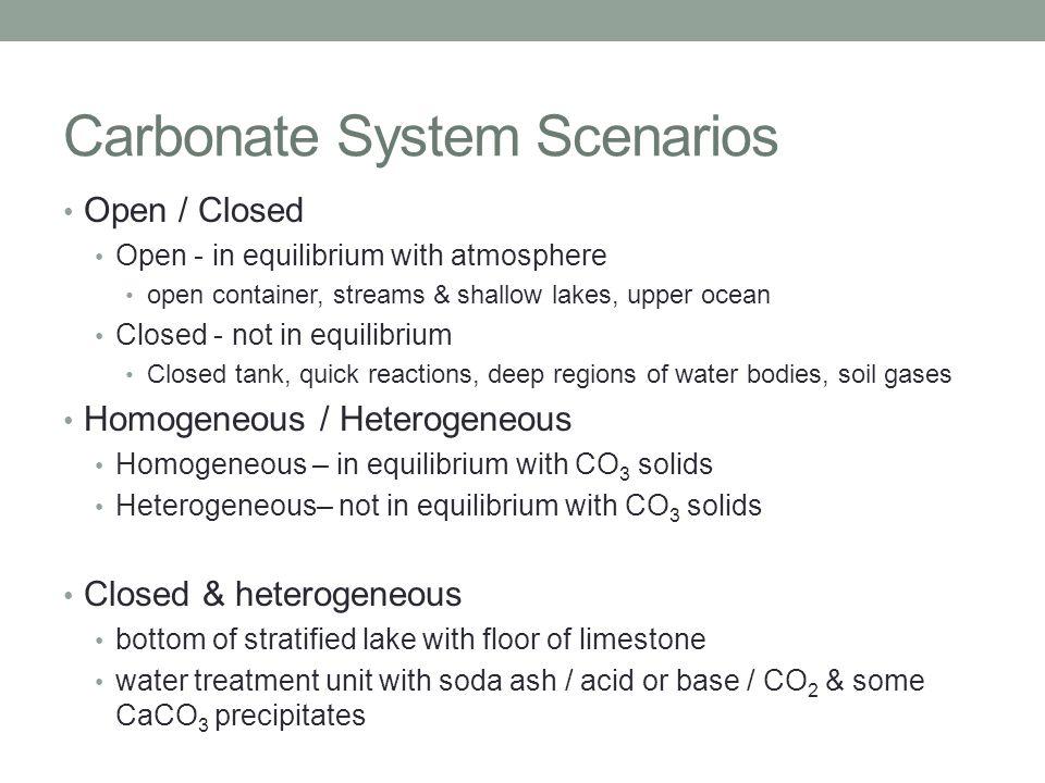 Carbonate System Scenarios
