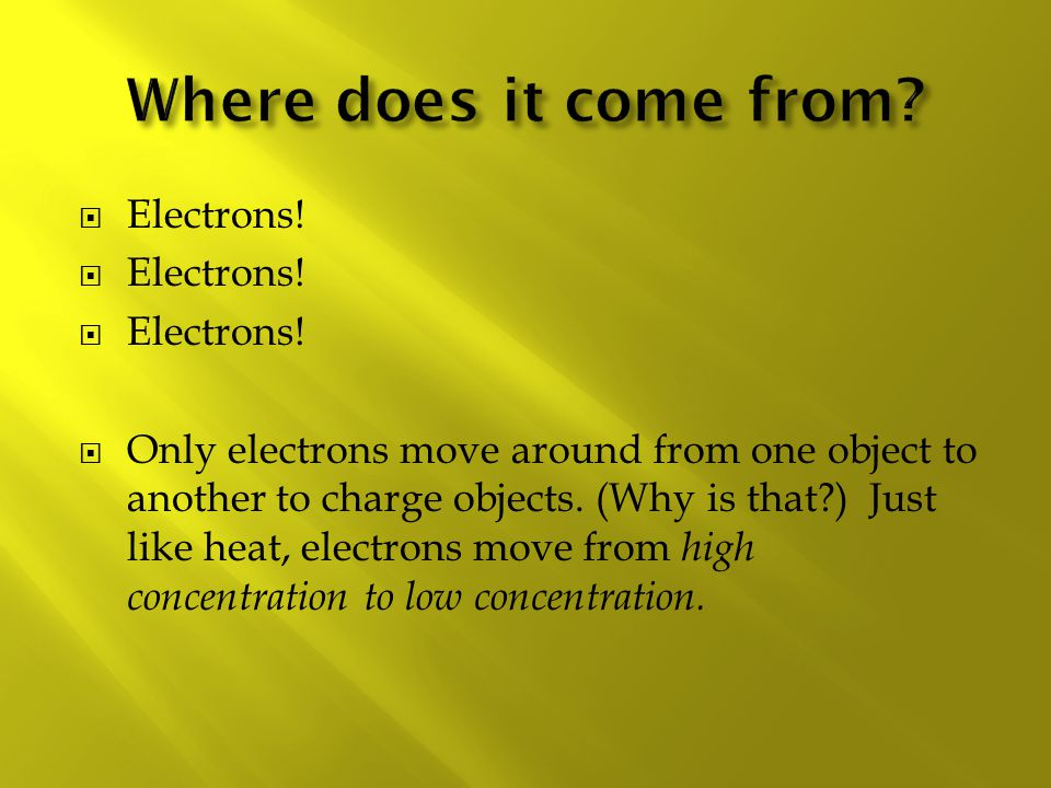 Where does it come from Electrons!