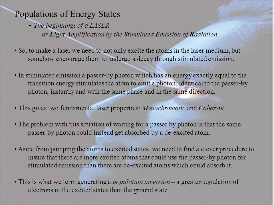 Populations of Energy States - The beginnings of a LASER
