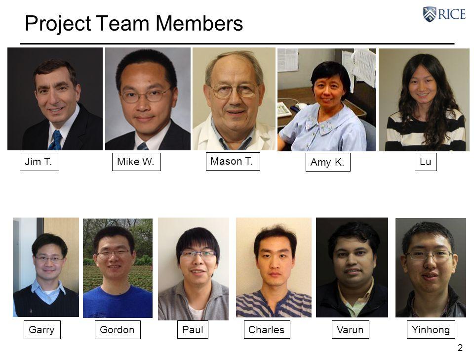 Project Team Members Jim T. Mike W. Mason T. Amy K. Lu Garry Gordon