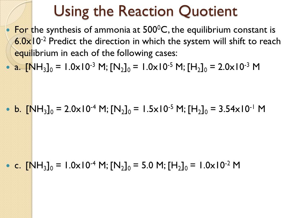 Using the Reaction Quotient