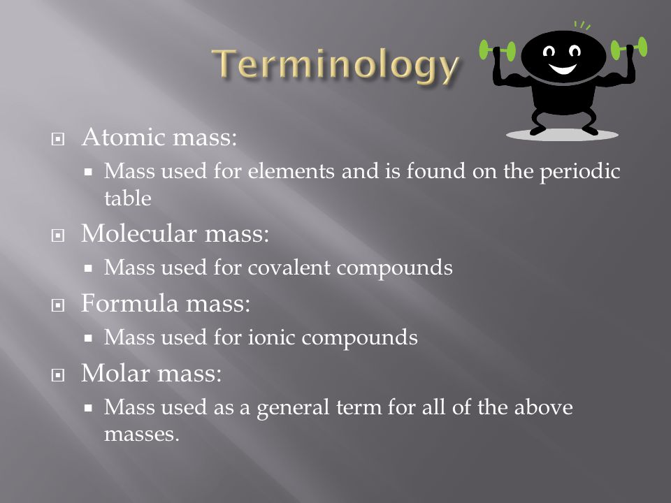 Terminology Atomic mass: Molecular mass: Formula mass: Molar mass: