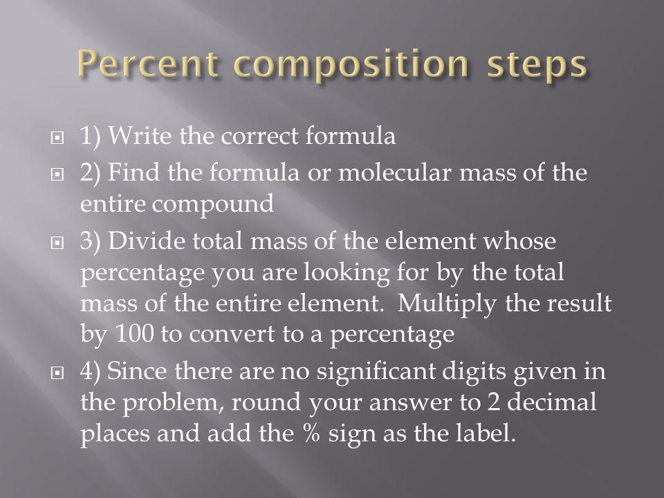 Percent composition steps