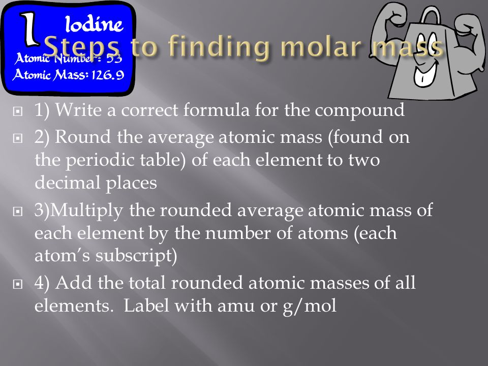Steps to finding molar mass