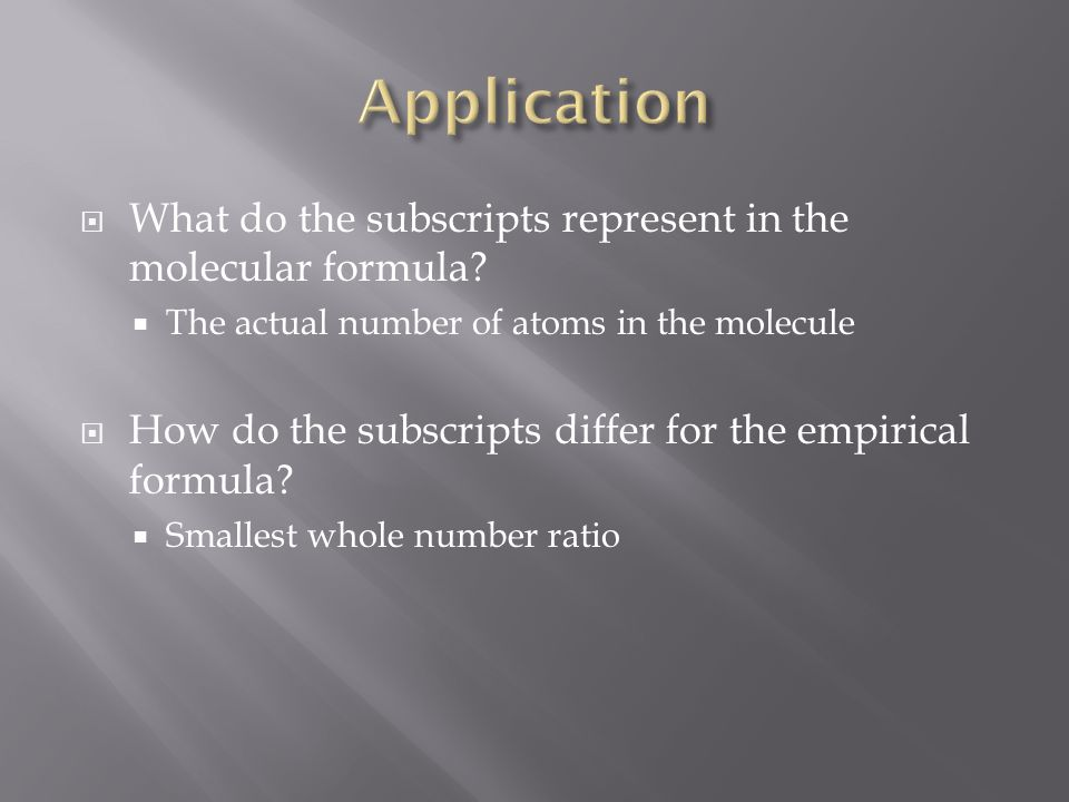 Application What do the subscripts represent in the molecular formula