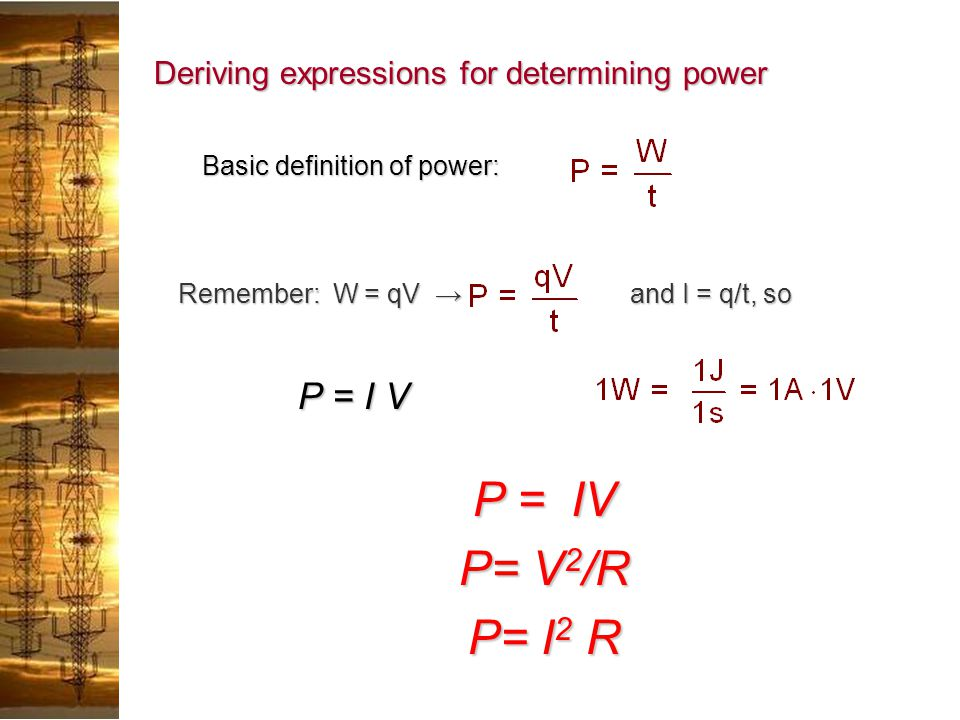 Deriving expressions for determining power