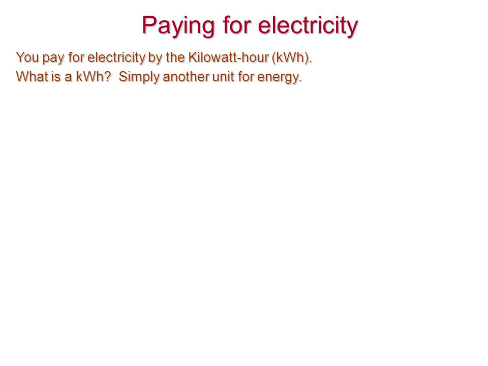 Paying for electricity