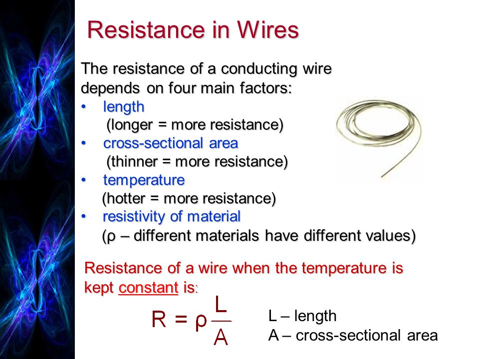 Resistance in Wires The resistance of a conducting wire