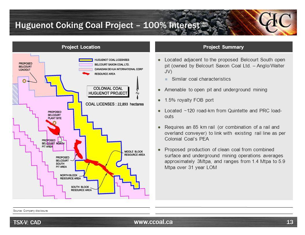 Huguenot – Premium Coking Coal Characteristics