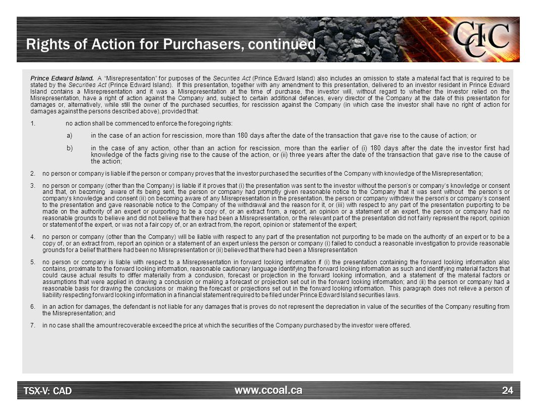 Rights of Action for Purchasers, continued