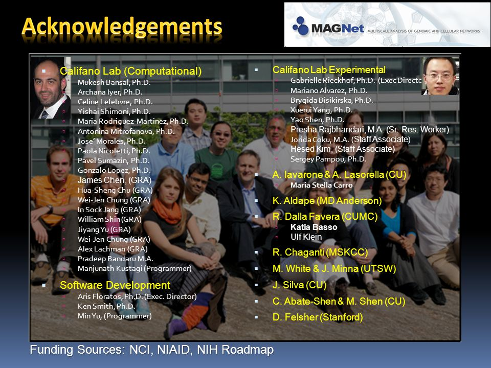 Acknowledgements Funding Sources: NCI, NIAID, NIH Roadmap